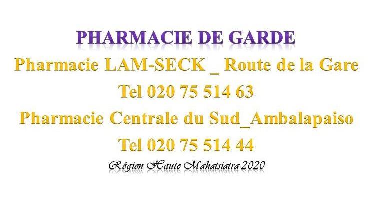 Pharmacie de garde jusqu'au 15 Février 2020