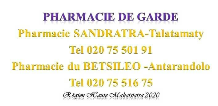 Pharmacie de garde jusqu'au 29 Février 2020